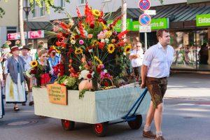 Flower Cart of the Urban Community of Rosenheim Small gardener at Thanksgiving Parade in Rosenheim / Germany
