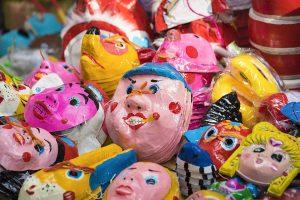 Toy masks for sale on Hanoi street before Vietnamese Mid-Autumn Festival for children.