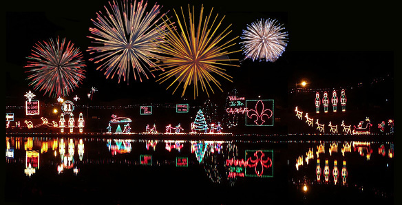 Fireworks illuminated over the Cane River in Natchitoches, Louisiana